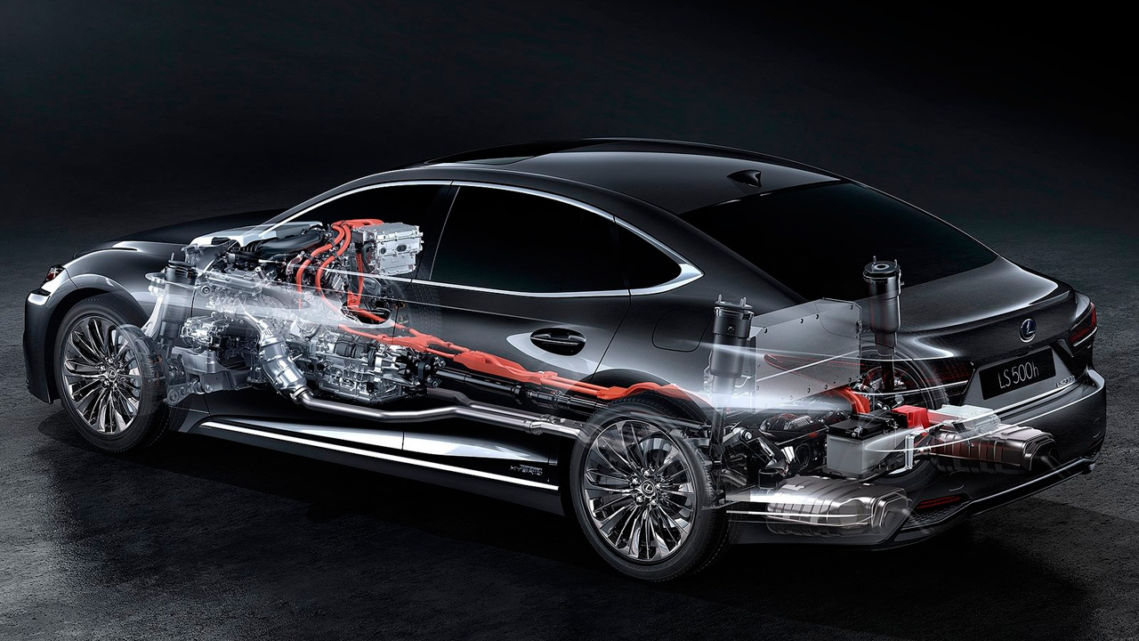 Mejores coches híbridos: Lexus LS500h motor