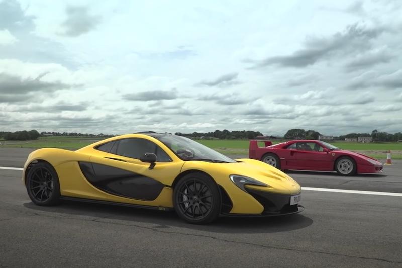 drag race entre el McLaren P1 y el Ferrari F40